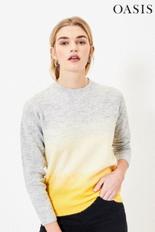 Oasis Yellow Ombre Fluffy Knit Jumper
