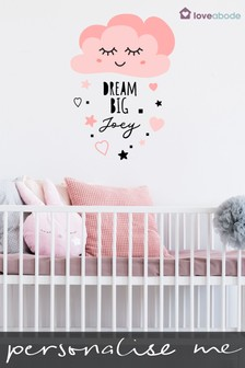 Personalised Pink Cloud Wall Sticker by Loveabode