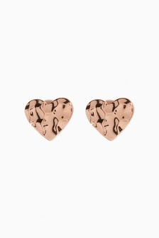 Rose Gold Plated Hammered Heart Stud Earrings