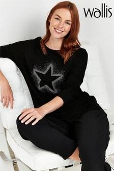 Wallis Black Star Print Long Sleeve Top