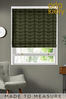 Jacquard Stem Khaki Green Made To Measure Roman Blind by Orla Kiely
