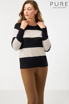 Pure Collection Black Brushed Stripe Boyfriend Sweater