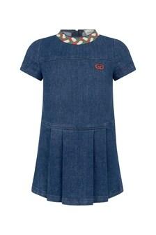 GUCCI Kids Girls Blue Denim Dress