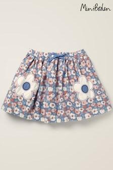 Mini Boden Blue Novelty Pocket Woven Skirt