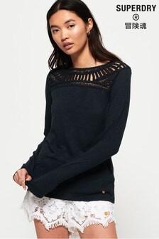 Superdry Alana Crochet Lace Long Sleeve Top
