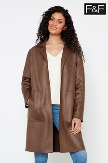 F&F Chocolate Suedette Duster Espresso Coat