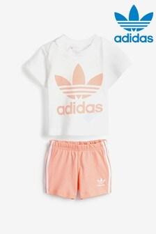 adidas Originals Infant White Short And T-Shirt Set