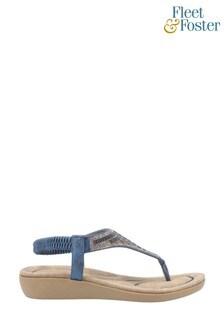 Fleet & Foster Blue Lianne Slip-On Sandals