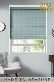 Jacquard Stem Mid Powder Blue Made To Measure Roman Blind by Orla Kiely