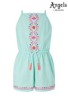 Angels by Accessorize Green Mandala Embroidered Playsuit
