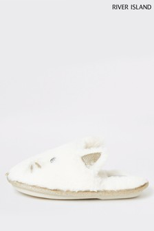 River Island Cream Mini Cat Slippers