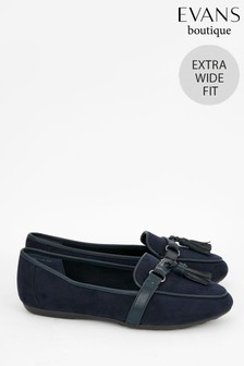 Evans Blue Extra Wide Fit Tassel Comfort Loafers