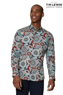 T.M. Lewin Dusk Rust Liberty Fabric Slim Fit Single Cuff Shirt