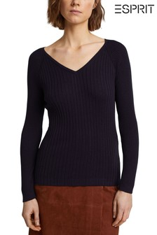 Esprit Blue V-Neck Fitted Knit Jumper