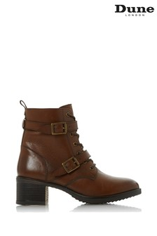 Dune London Paxtone Dark Tan Leather Buckle Ankle Boots
