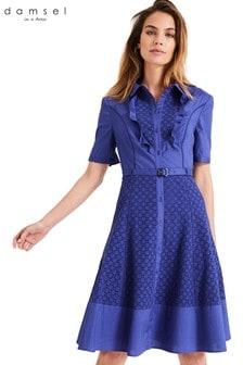 Damsel In A Dress Blue Brielle Broderie Dress