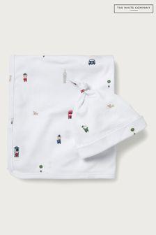 The White Company White London Bear Blanket & Hat Set