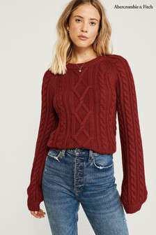 Abercrombie & Fitch Red Cable Sweater