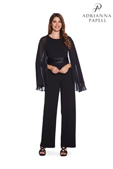 Adrianna Papell Black Long Cape Sleeve Jumpsuit
