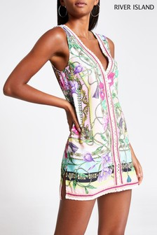 River Island Pink Print Print Trim Front Dress