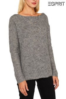 Esprit Grey Long Sleeved Cable Sweater