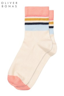 Oliver Bonas Striped Welt White Socks
