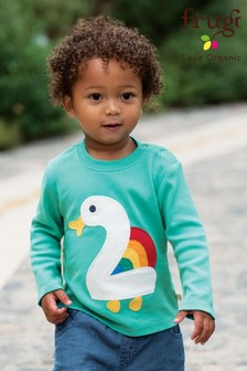 Frugi Organic Number 2 Birthday Top With A Duck And Appliqué