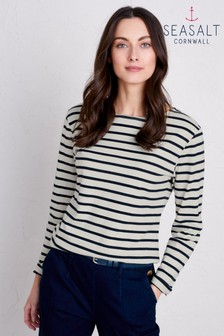 Seasalt Sailor Breton Ecru Midnight Top