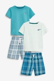 2 Pack Short Check Pyjamas (9mths-8yrs)