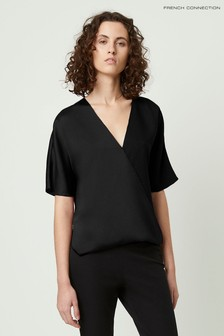 French Connection Black Alessia Satin Wrap Top Shirt