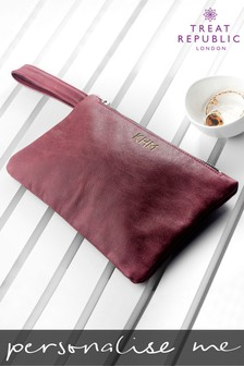 Personalised Monogrammed Leather Clutch by Treat Republic