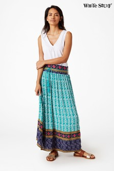 White Stuff Green Dolorita Crinkle Maxi Skirt