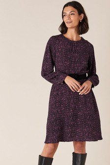Monsoon Black Heart Print Sustainable Dress