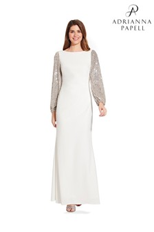 Adrianna Papell White Plus Crepe And Sequin Gown
