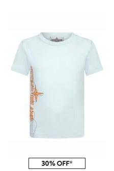 Stone Island Junior Boys Blue Cotton T-Shirt