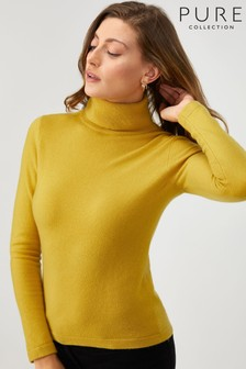 Pure Collection Yellow Cashmere Roll Neck Sweater