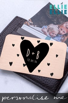 Personalised Heart Date Keepsake Wallet Card by Ellie Ellie