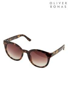 Oliver Bonas Preppy Round Brown Tortoiseshell Effect Sunglasses