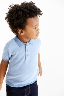 Textured Knitted Poloshirt (3mths-7yrs)