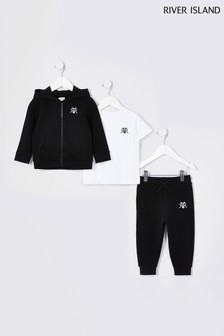 River Island Black Younger Boys Hoodie, T-Shirt And Joggers 3 Piece Set