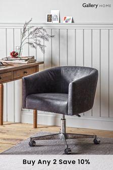 Feynman Swivel Chair Antique Ebony Leather By Hudson Living