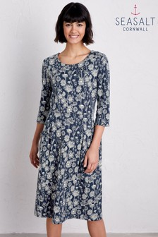 Seasalt Petite Blue South Border Sketched Hedgerow Magpie Dress