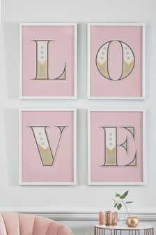 Set of 4 LOVE Framed Art