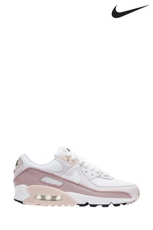 Nike White/Pink Air Max 90 Trainers