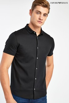 Emporio Armani Black Jersey Short Sleeved Shirt