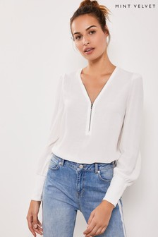 Mint Velvet Ivory Zip Puff Sleeve Top