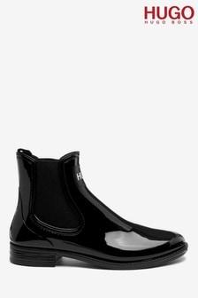 HUGO Black Nolita Rain Bootie Shiny Boots