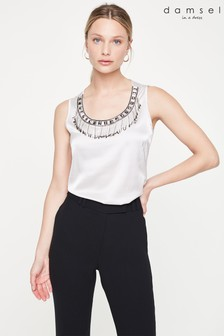 Damsel In A Dress Grey Mikki Embellished Sleeveless Blouse