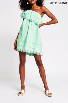 River Island Green One Shoulder Cut Work Mini Dress