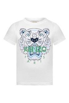Baby Boys White Cotton Tiger T-Shirt